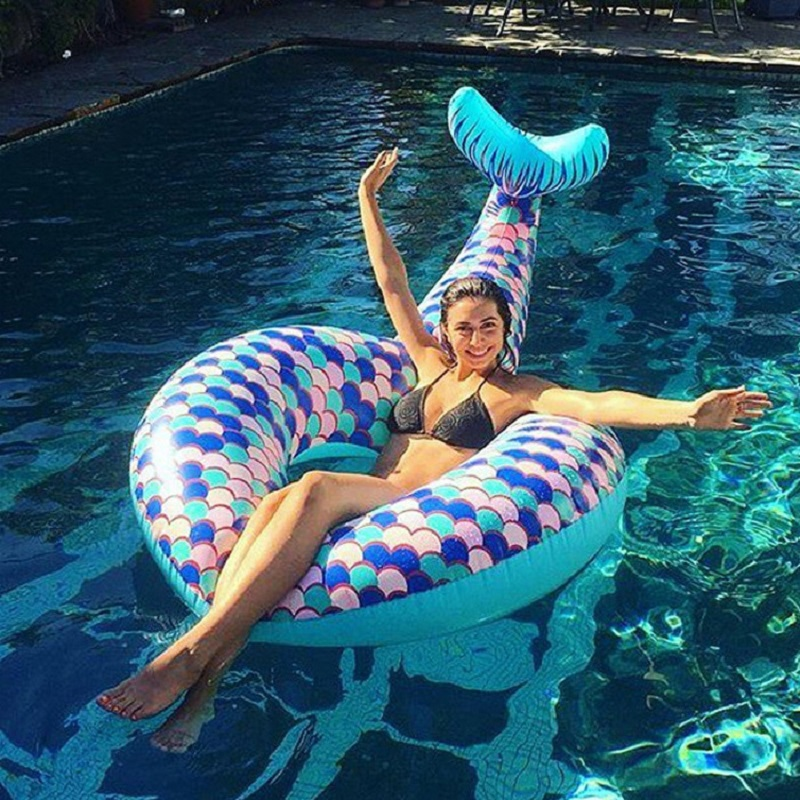 Rooxin Mermaid Inflatable Circle Rubber Ring For Swimming Kids Adult Pool Float Swimming Ring Outdoor Summer Beach Party Toys