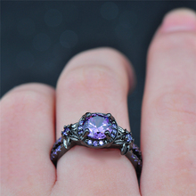 Amethyst & Purple Zircon Black Jewelry Ring