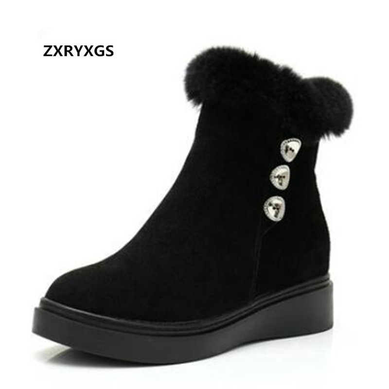 black Stiefel Single Plus Schuhe Winter Boots Marke 2018 Kaninchen Matte Flache Warm Größe Rindsleder Frauen Herbst Black Schnee Haar Boots Zxryxgs A1xfqnn