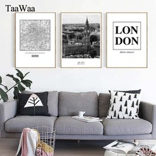 TaaWaa Black and White London Map City Canvas Poster Landscape Nordic Style Wall Art Pictures For Living Room Modern Home Decor