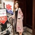STH416 Новое Прибытие 2016 старинные розовый с длинным рукавом поясом негабаритных цветок вышитые свободные кимоно кардиган пальто женщин х длинные