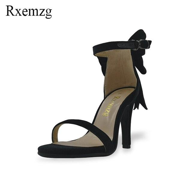 c5c76688ce2a Rxemzg Big size 43 sweet bowtie high heels women sandals velvet summer  dress shoes woman ankle strap stiletto gladiator sandals