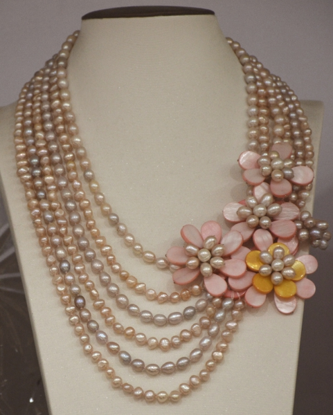 Simple Style Natural Pink rice pearl shell flower necklace for women statement цена
