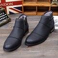 Zplover Hombres Botas 2015 Moda Negro Zip botas de Nieve de Cuero para Los Hombres de Invierno Botines Masculinos Zapatos Hombre Caliente venta