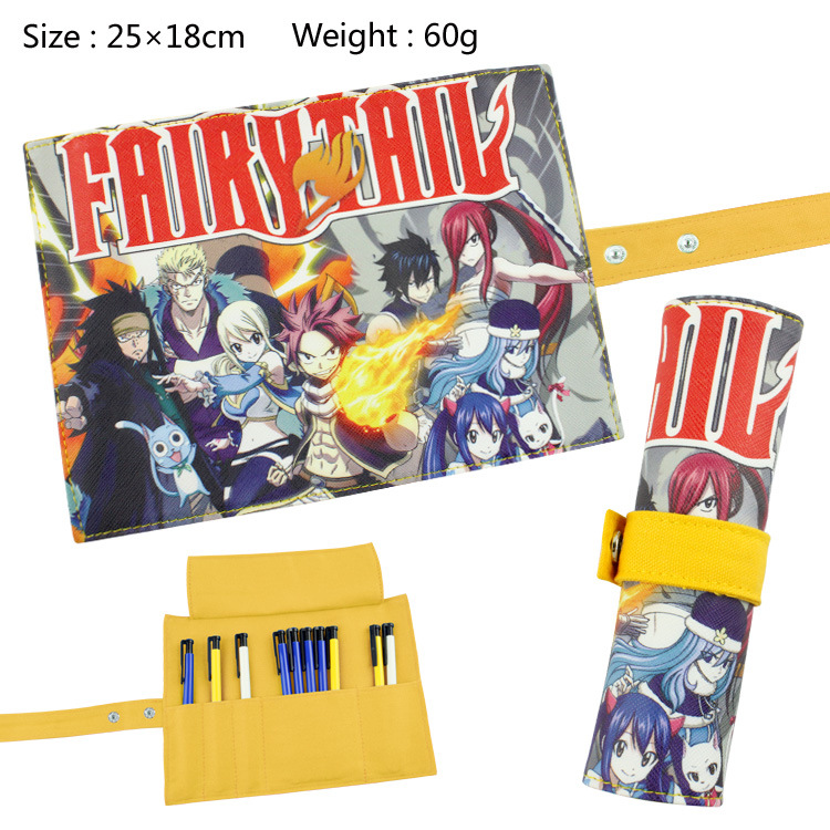 Fairy Tail Canvas Roll Up Pencil Bag Anime Pencil Case Kids Boy Gift Stationery School Supplies black bluter canvas roll up pencil bag anime pencil case kids boy gift stationery school supplies