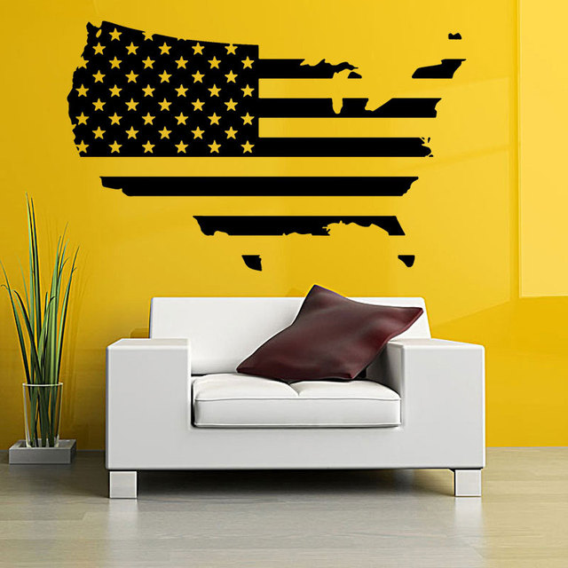 Map of America Wall Stickers USA Flag Design Travel Decor Removable ...