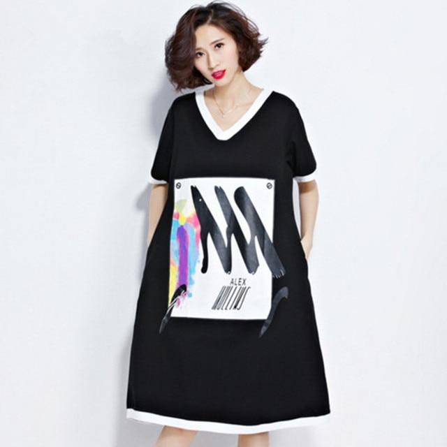 c8556bd00 Nova Moda das mulheres Listrado Cor Hit Impressão Preto Vestido de Camisa  solta plus size Feminina