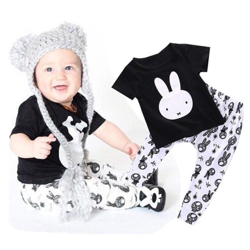 2018 Summer Infant Baby girl boy clothing set Cotton Short-Sleeve Cute Rabbit T-Shirt+Pants 2Pcs sets Bebe kids clothes outfit