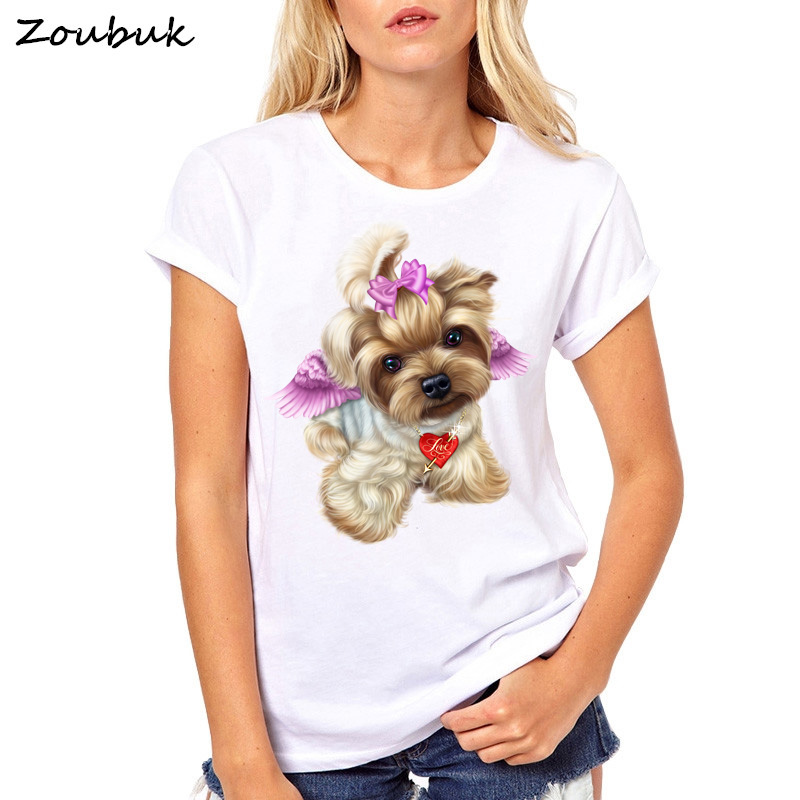 Cute Little Yorkshire Terrier Dog angel   t     shirt   women summer tops lovely Youkshire biewer print girls tee   shirt   animal   t  -  shirt