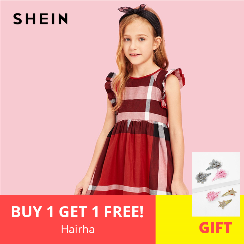 SHEIN Kiddie Red Striped Zipper Back Cute Girls Dress Kids Clothes 2019 Summer Ruffle Cap Sleeve A Line Flared Short Dresses