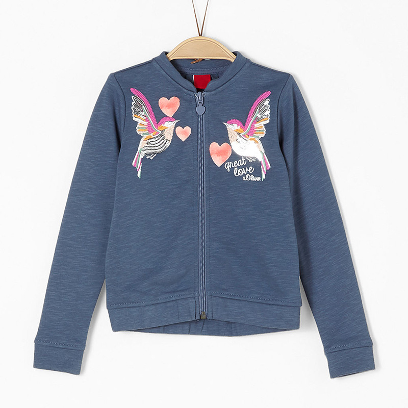 Wenig Maven Neue Herbst Frühling Kinder Kleidung Blaue Vögel Stickerei Baumwolle Zipper Voll ärmeln Mädchen Casual Outwear Hoodies Ruf Zuerst