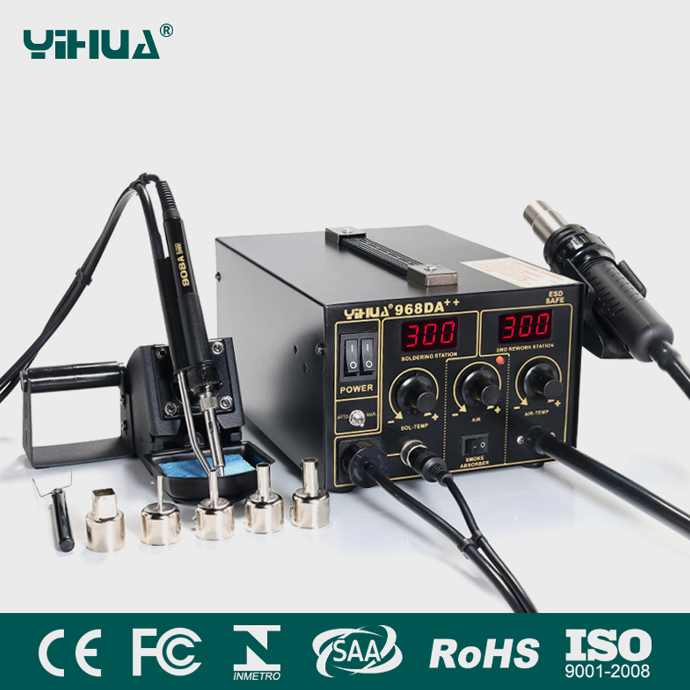 Yihua 907m Bga Rework Staion Smd Soldering Iron Solderingtweezer Wiring Diagram 968da Electronic Cell Phone 3 In1 Hot Air Repair Station With Digital