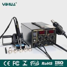 YIHUA 968DA ++ อิเล็กทรอนิกส์โทรศัพท์มือถือ3 In1 Soldering Hot Air Repair Rework StationดิจิตอลSMD Solderingเหล็ก110V/220V