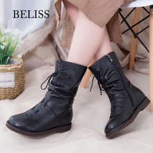 BELISS fur warm winter boots women new style 2018 fashion genuine leather wool snow female mid calf high quailty B42