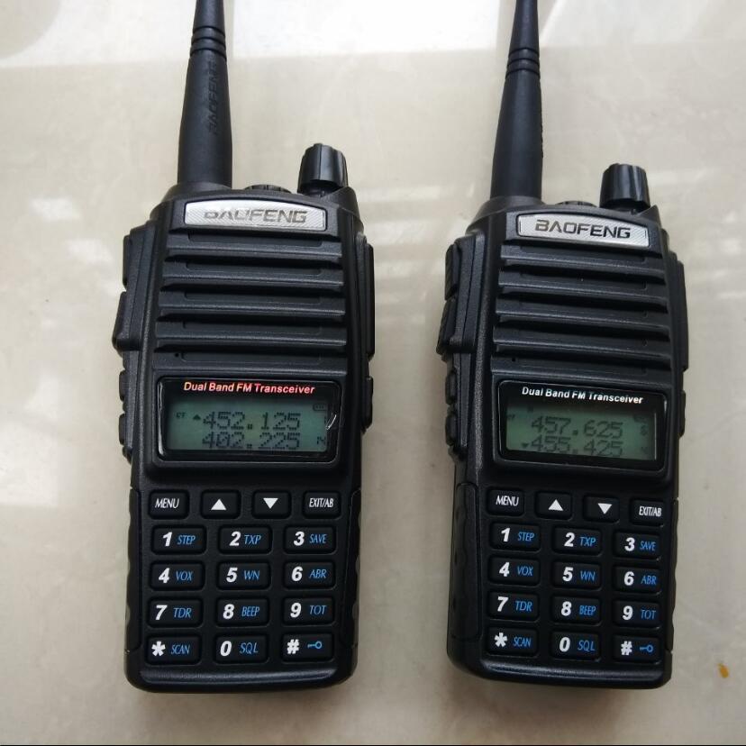 bilder für Hot Tragbaren 2 stücke Zwei-wege Transceiver Radio Walkie Talkie CB Ham amateurfunk Für Vhf Uhf Dual Band Baofeng UV 82, lange palette