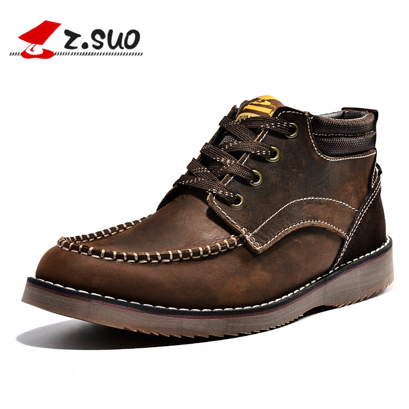Z. Suo men shoes the male head layer cowhide Hiking ,leather with retro men's boots,Hiking Shoes worship the elder brother of the men and women athletic shoes head layer cowhide beef tendon counters authentic 6