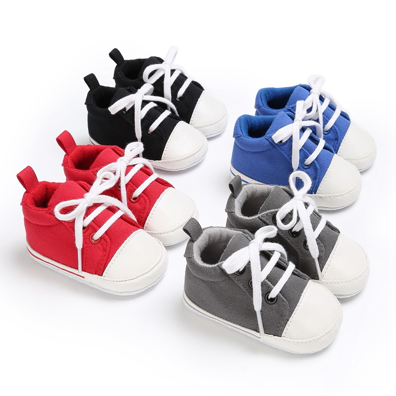 4Colors Baby Infant Toddler Crib Girls Boys Fashion Canvas Spring Autumn Lace-Up Padded Soft Soled Sneakers Shoes