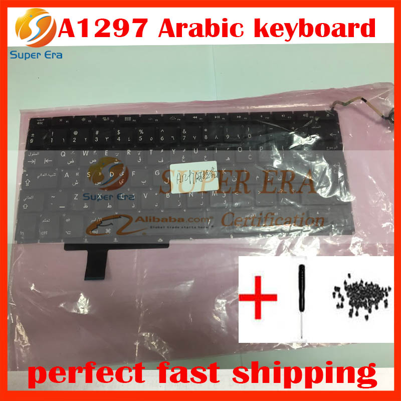 10pcs/lot A1297 AR keyboard for macbook pro 17A1297 Arabic keyboard clavier without backlight 2009 2010 2011year