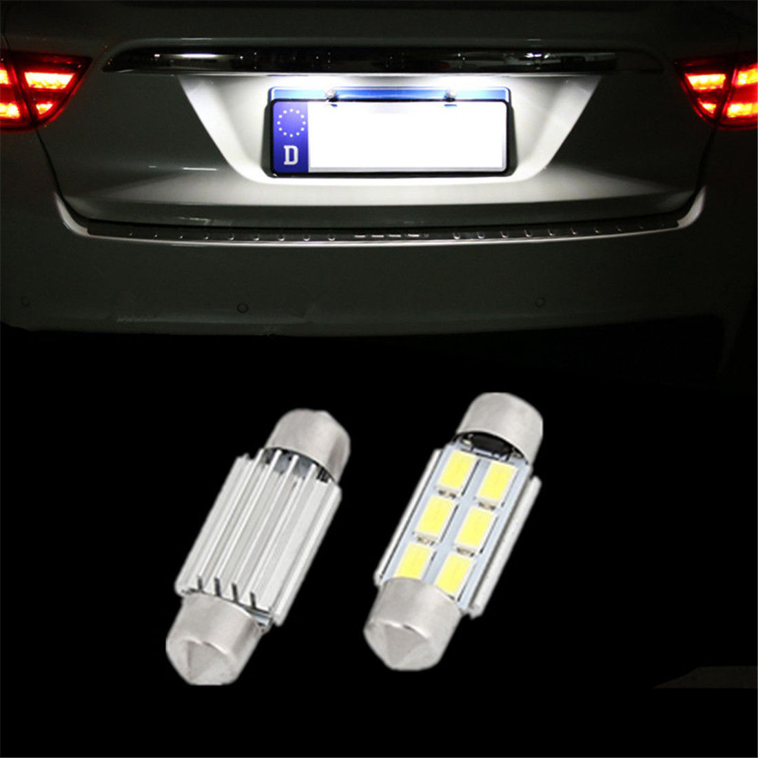 36mm No Error License Plate LED Light Bulbs Lamp C5W For Volkswagen VW JETTA GTI GOLF RABBIT MK4 MK5 PASSAT B5 B6  2x error free led license plate light for volkswagen vw passat 5d passat r36 08