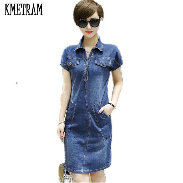 Korean Denim Dress Robe Femme ete 2018 Blue Vestido Jeans Summer Dresses  Casual Plus Size Women Clothing Vestidos Mujer YJZ016 30e0be57c9b4