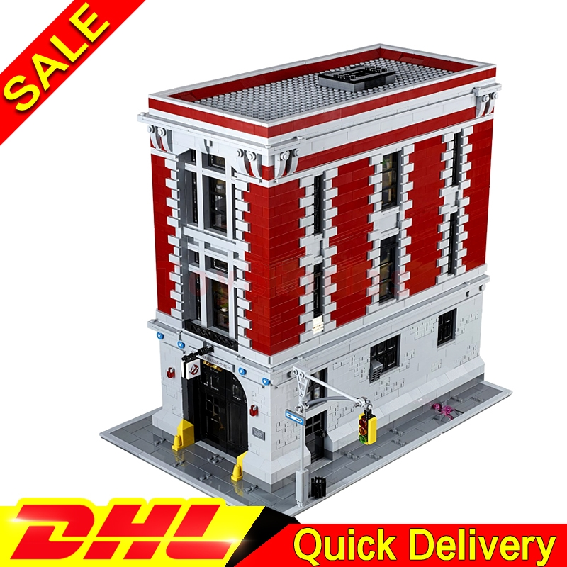LEPIN 16001 4695Pcs Ghostbusters Firehouse Headquarters Model Building Kits legoings Toys Clone 75827 4695pcs lepin 16001 city series firehouse headquarters house model building blocks compatible 75827 architecture toy to children