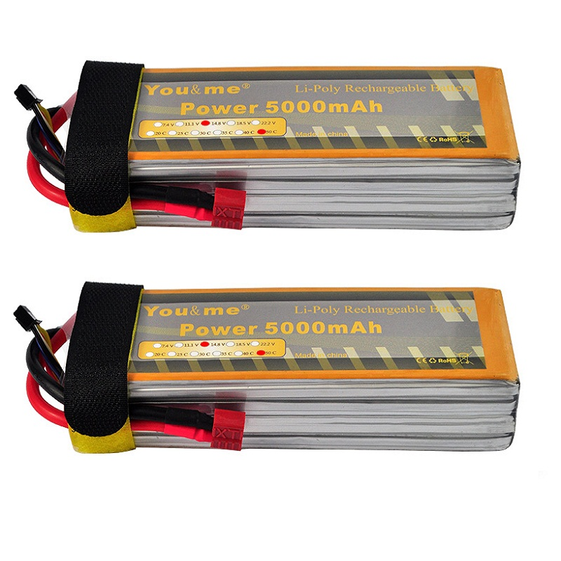 ФОТО 2pcs/lot You&me RC  Li-Poly Battery 14.8V 5000mAh 50C Max 100C 4S Rechargeable AKKU Batteria Batteries