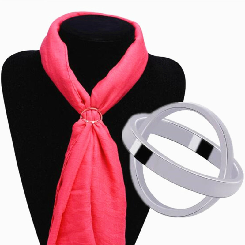 2018 Lastest Simple Cross Gold Color Brooch for Women Hollow Smooth Bicyclic Scarves Buckle Silk Scarf Circle Clips Corsage Gift