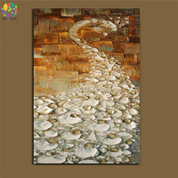Hand Painted Knife Oil Paintings Thick Textured White Peacock Wall Art 3D Relief Home Decoration Birds