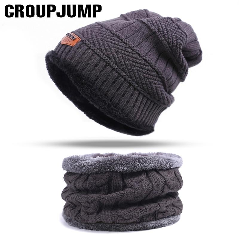 2017 Brand Knit Winter Hat Scarf Warm Winter Hat For Men Skullies Beanies Thick Man Scarf Hat Set Winter Scarf Wholesale
