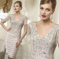 Champagne Mother Of The Bride Dresses Plus Size Sexy V neck Short Sleeve Knee length Sequins Beads Party Dress Custom Made