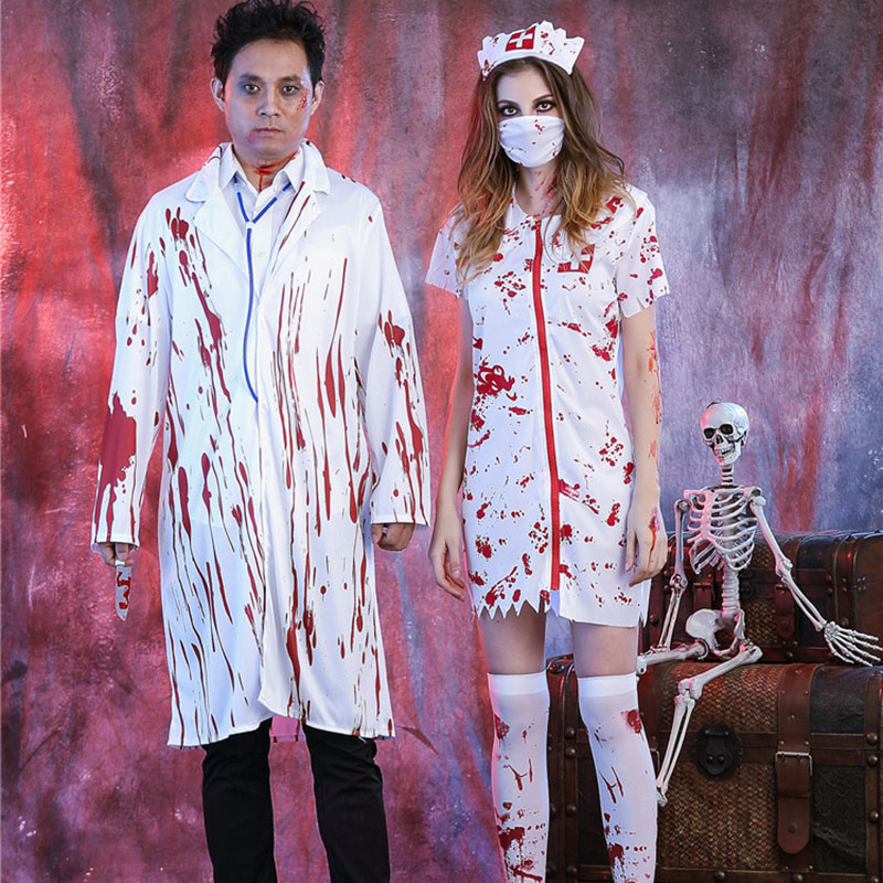 Halloween Looks Scary.Us 20 16 30 Off Women Men Doctor Nurse Blood Dress White Gown Role Play Carnival Horrible Zombie Scary Costume Halloween Clothes Simple Cosplay In