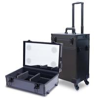 Алюминий frame профессиональный визажист косметичка Красивая тележка чемодан монитор со светодиодной подсветкой коробка прокатки Чемодан