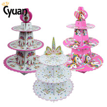 1set Birthday Party Decoration Rainbow Unicorn 3-tier Paper Cake Stand Baby Shower Unicornio Cupcake Holder Supplies