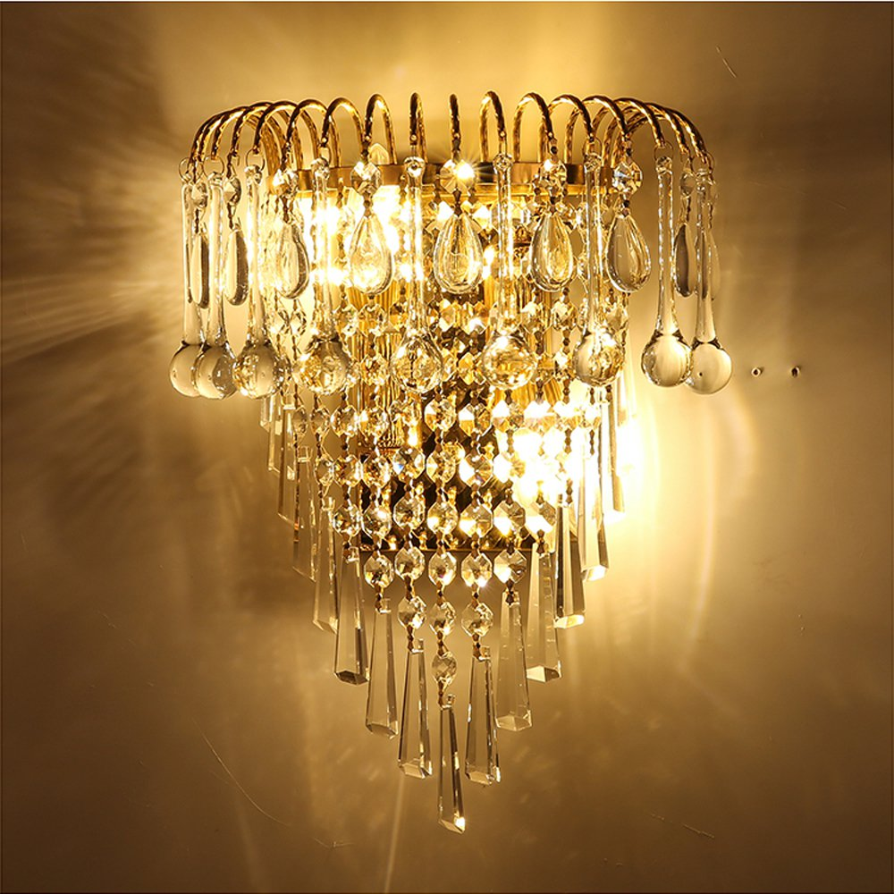 Modern Crystal Golden Crown Bedroom Bedsides Wall Lights Stair Corridor Mirror Front Wall Sconces Balcony Hallway Wall LampsModern Crystal Golden Crown Bedroom Bedsides Wall Lights Stair Corridor Mirror Front Wall Sconces Balcony Hallway Wall Lamps