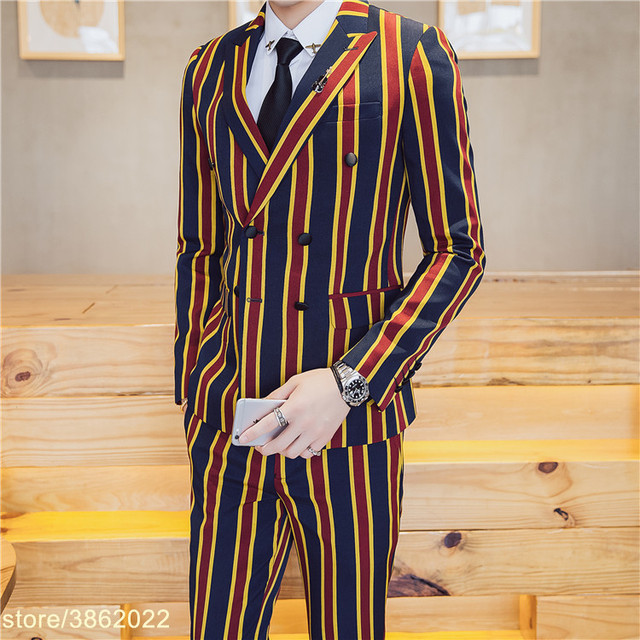 finest selection 259ea 833bc US $99.47 40% OFF|Vintage Stripe Suit Latest Coat Pant Designs Yellow Red  Green Stripe Vestito Uomo Smoking Masculino Costume Homme Mariage-in Suits  ...