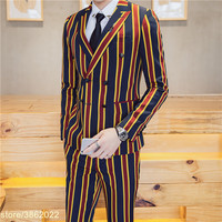 Vintage Stripe Suit Latest Coat Pant Designs Yellow Red Green Stripe Vestito Uomo Smoking Masculino Costume Homme Mariage