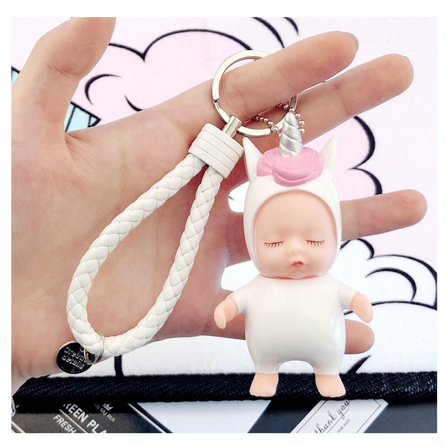 New Hot Lovely Sleepy Unicorn Baby Keychain Accessory Bag Handbag Charms Pendant Car Key Ornament Nice Gifts For Children