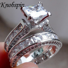 Europe fashion brand two-in-one Female AAA CZ Ring Fashion Sliver color Jewelry Vintage Wedding Rings For Women Birthday Gifts