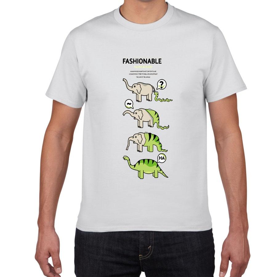 snake eat Elephant Evolution into Dinosaur Sarcastic Graphic Novelty Funny T Shirt men 100% cotton streetwear Men's T-shirt men