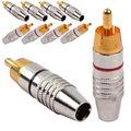 5 пара ( 10 шт. ) штекер RCA вилочная часть вилка припоя золото аудио видео адаптер коннектор