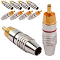 5 pair (10pcs) RCA Male Plug Solder Free Gold Audio Video Adapter Connector