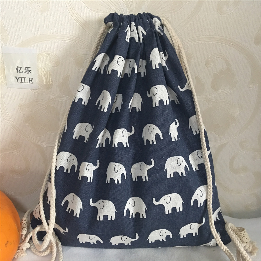 YILE NEW Handmade Navy Blue Cotton Linen Drawstring Travel Backpack Student Book Bag Printed Elephant B418