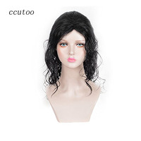 Ccutoo 24 Black Medium Long Culy Styled Synthetic Hair Dance King Party Cosplay Full Wigs Heat