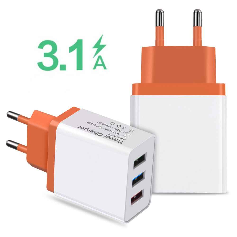 3 Port USB Charger untuk Xiaomiredmi Note 7 Mi8 9 Cepat Charing Travel Charger UNTUK Samsung S8 S9 iPhone X XS XR 8 7 6 USB Adapter