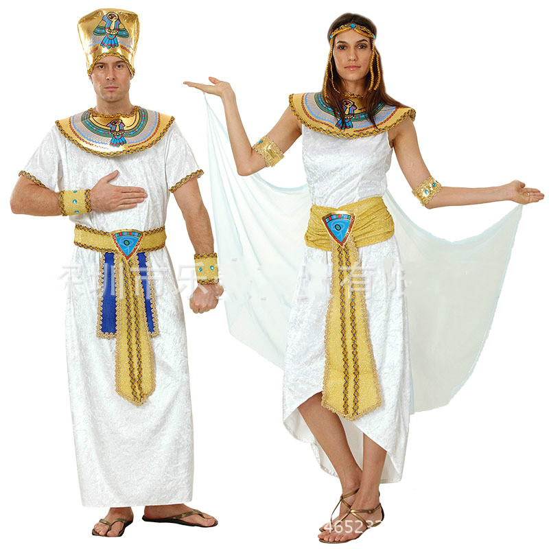 men women costume Egypt prince princess royal king queen luxury golden halloween cosplay Masquerade theme party adult costume
