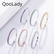 QooLady New Fashion Micro Pave Green Red Cubic Zircon Engagement Party Round Simple Skinny Finger Ring for Women CZ Jewelry F001