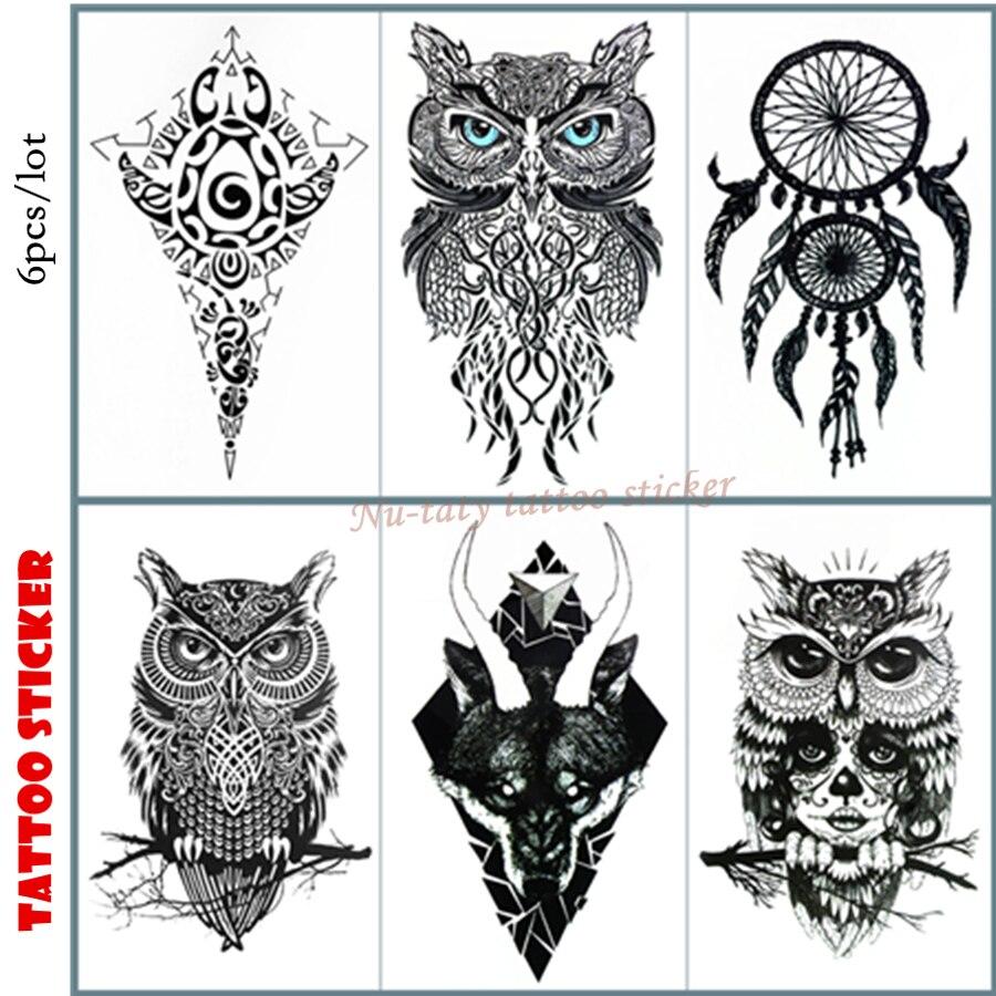 Nu-TATY 6pcs/lot OWL Dreamcatcher Temporary Tattoo Body Art Arm Flash Tattoo Stickers 12*20cm Waterproof Tatto Henna Fake Tatoo