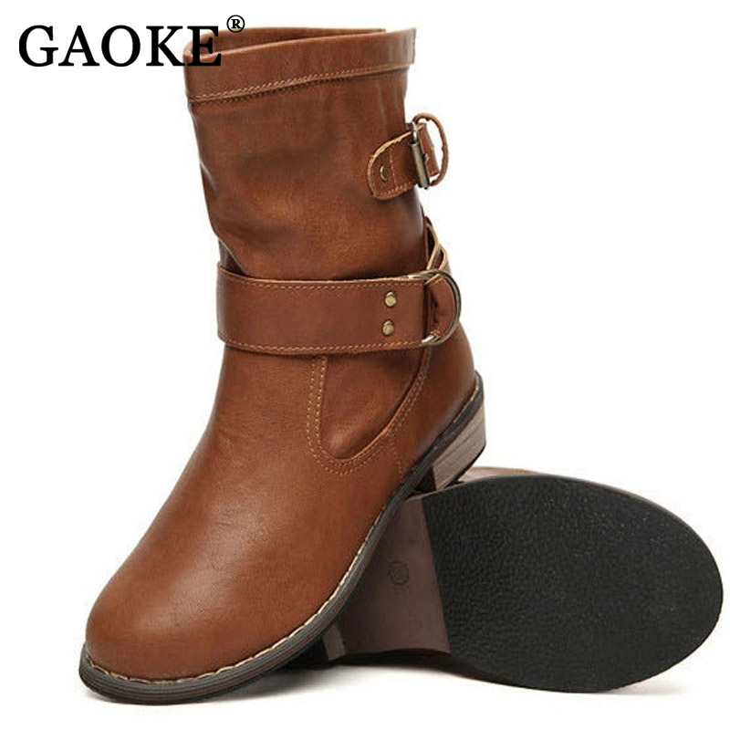Brand PU Leather Motorcycle Boots Biker Shoes Women Gothic Punk Combot Booties Platform Boots Ankle Boots for Women