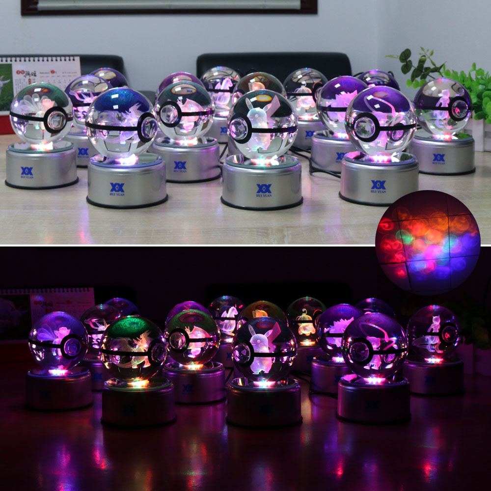 Pokemon Go Mew 3D Crystal Ball Lamp Desktop Decoration Glass Ball - Night Lights - Photo 4