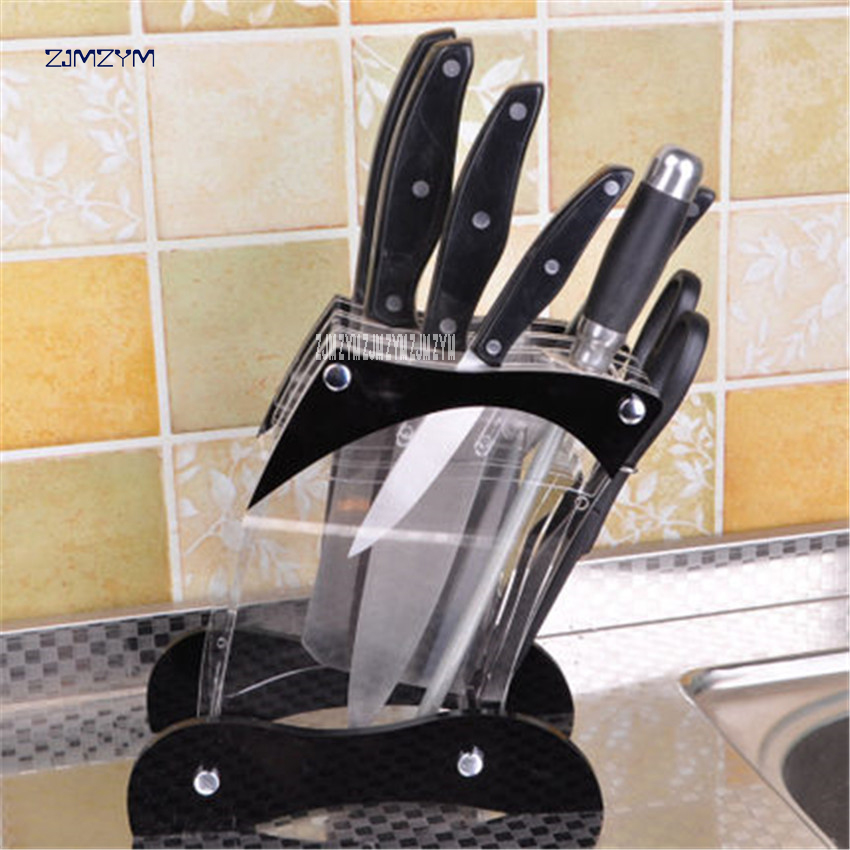 Multifunctional Oblique Plexiglass Kitchen Knife Rack Creative Storage Rack Tool Kitchen Knife Holder Stand Block (without Knife